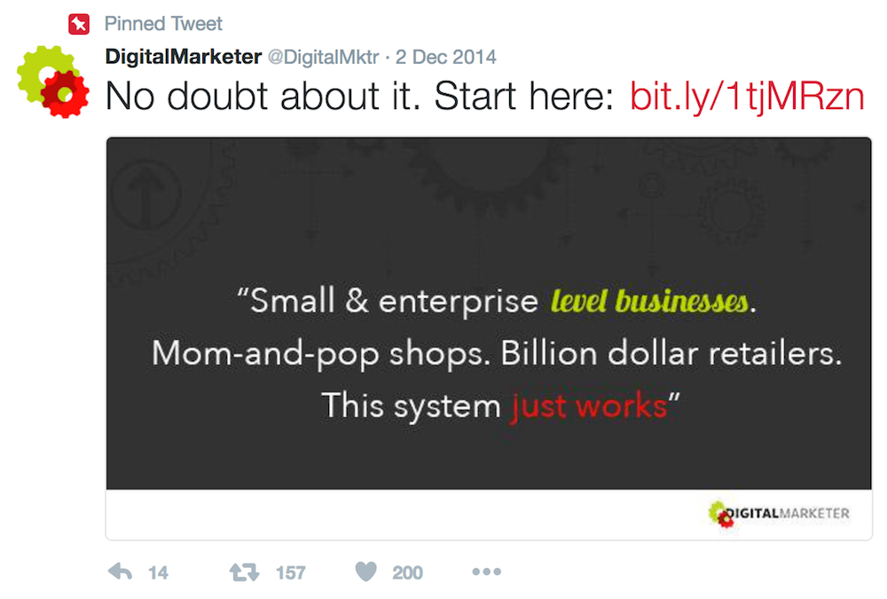Digital Marketer's Lead Magnet Tweet